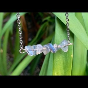Flashy Blue Labradorite Bar Necklace Silver Chain